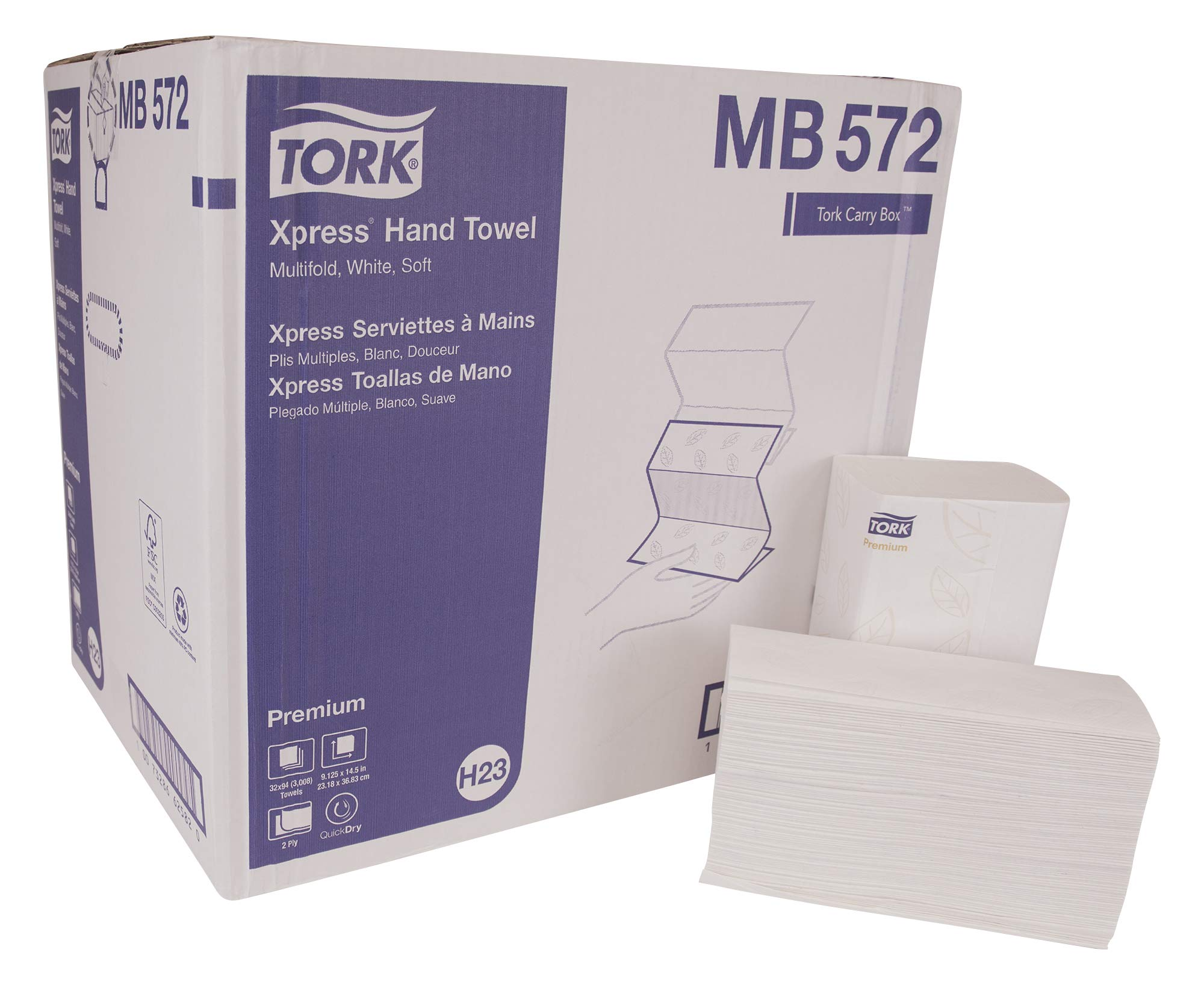 Tork Premium MB572 Soft Xpress Multifold Paper Hand Towel, 4-Panel, 2-Ply, 9.125'' Width x 3.625'' Length, White (Case of 32 Packs, 94 per Pack, 3,008 Towels)