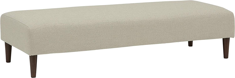 "Rivet Ava Mid-Century Modern Upholstered Ottoman Bench, 63.4""W, Optical Grey"