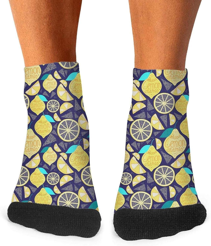 Floowyerion Mens Bright pattern of lemon Novelty Sports Socks Crazy Funny Crew Tube Socks