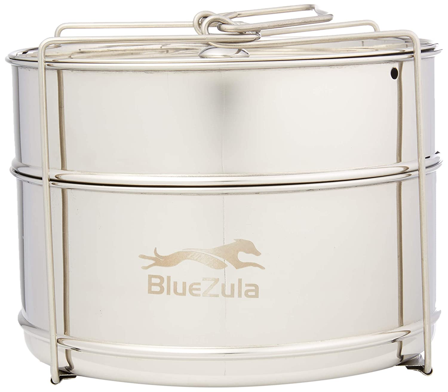BlueZula Stackable Stainless Steel Steamer Insert Pans for Instant Pot | 2 Tier Steamer Baskets with Handle | Ideal for Vegetable, Meat, Fish, and Rice | Fits 5, 6 & 8 Quart Instant Pot