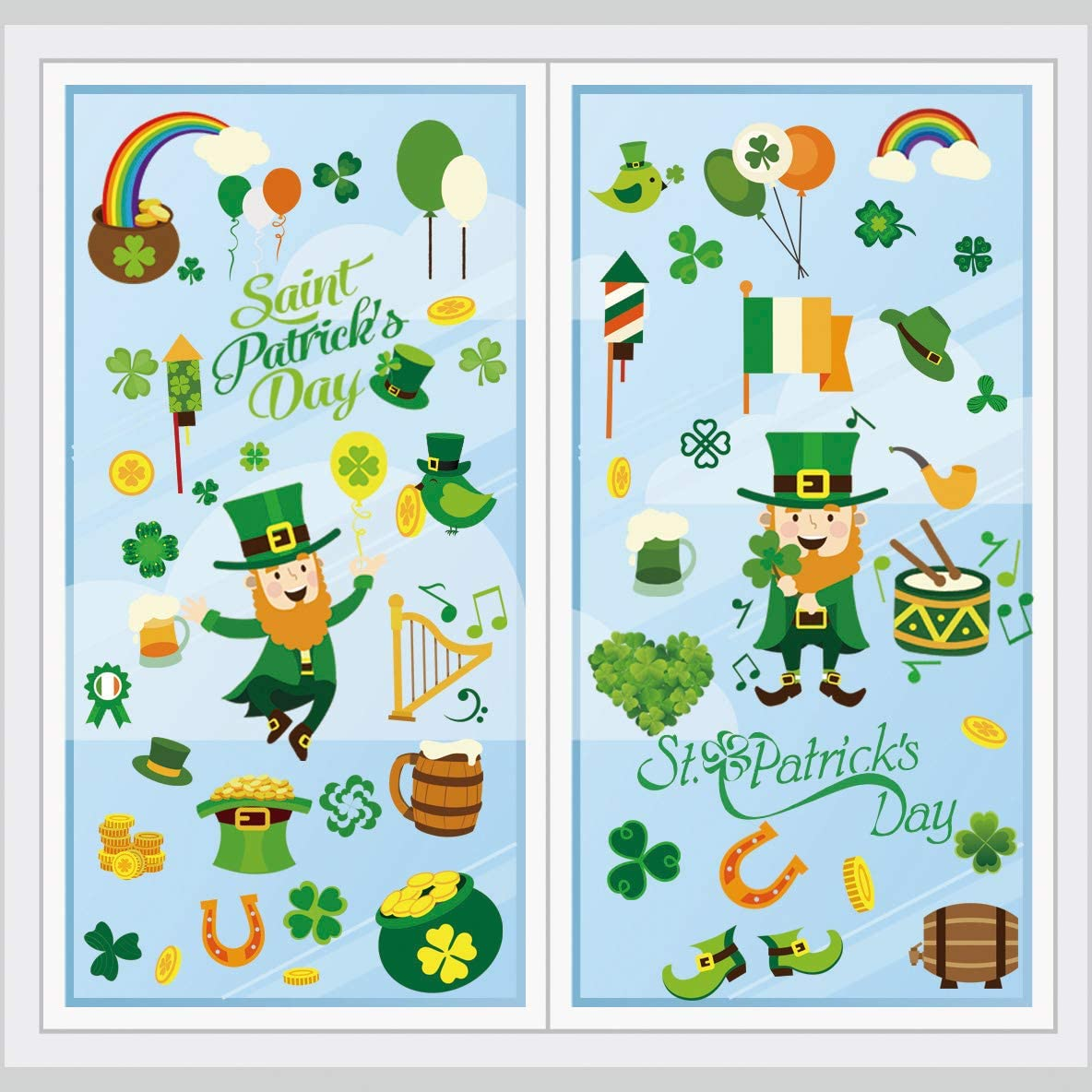 Patricks Day Decorations Window Clings Decor 6 Sheets 77 pcs Ivenf St Extra Large Shamrock Top Hat Gold Coins Decal Stickers for Kids School Home Office Accessories Party Supplies Gifts