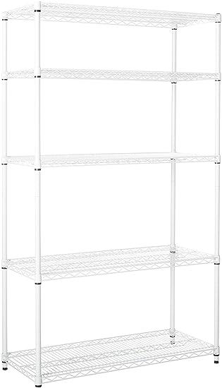 Amazon Com Honeycando Shf 01574 5 Tier White Storage Shelves 800