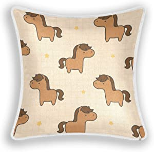LINNKAHAO Decorations Pillow Cover 20×12 Inch - Cute Horse Cushion Case for Decor Car