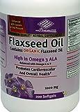 Organic Flaxseed Oil 1000 mg 200 Counts High in