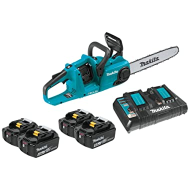 Makita XCU03PT1 Lithium-Ion Brushless Cordless Chain Saw Kit with 4 Batteries, 18V/14