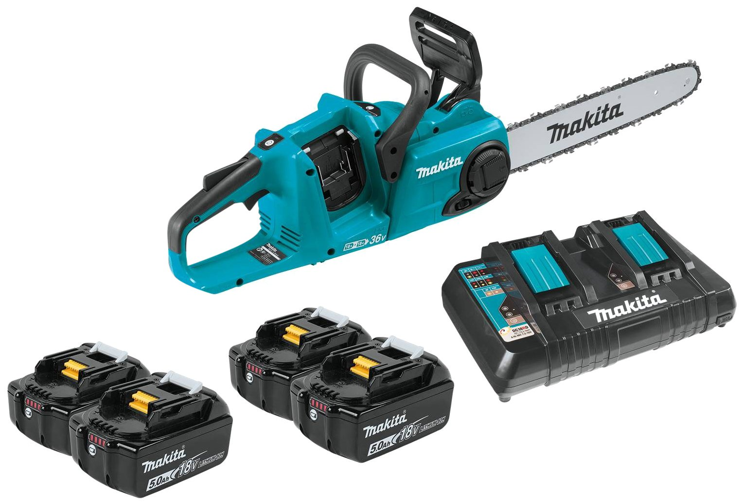 Makita XCU03PT1 Lithium-Ion Brushless Cordless Chain Saw Kit with 4 Batteries, 18V/14''