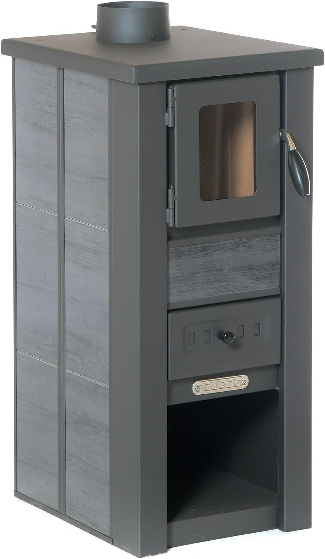 acerto 20111 Estufa LAVA Cerámica antracita con ventana 35x44x82 cm - Estufa compacta de leña premium para habitaciones pequeñas con 85kW de potencia calorífica