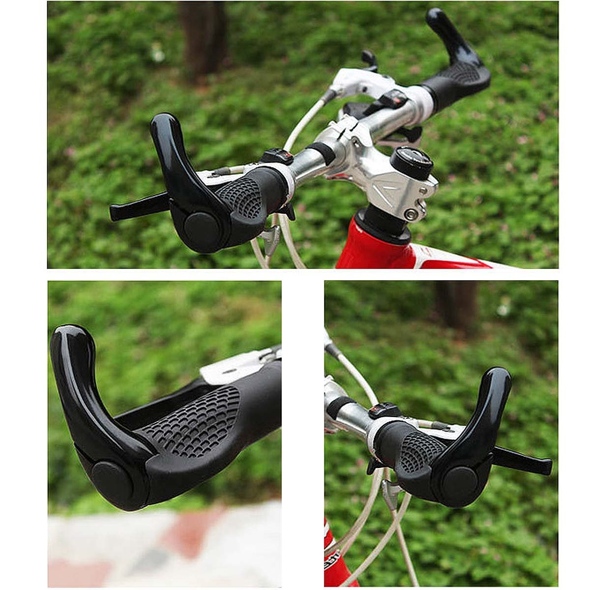 Kenthia Anti-slip Rubber Aluminum Alloy Bicycle Handlebar Grips Human Mechanics Design Blue by Kenthia (Image #4)