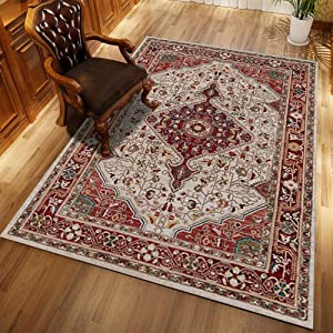 QUD Monaco Collection Western Traditional French Area Rug Bedroom Living Room Rugs Southwestern Non-Slip Carpet Boho Rug 6/22 (Size : 40x60cm)