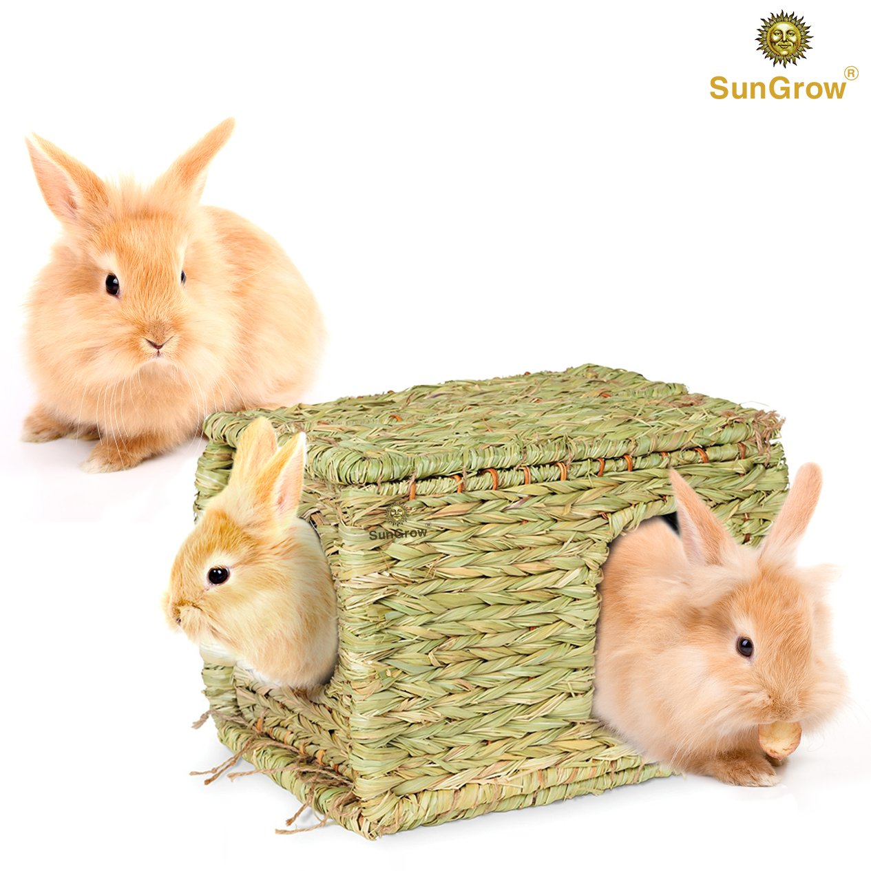 SunGrow Folding Woven Grass House for Rabbits, Guinea Pigs, Bunnies : Provides Comfort, Warmth & Security by Satisfying Natural Instincts: Multi-Utility, Edible, Non-Toxic, Chew Toy for Small Animals by SunGrow (Image #2)