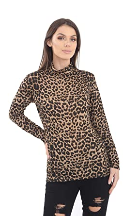 New Ladies Women/'s Brown Leopard Print Long Sleeve Top UK Sizes 8-18