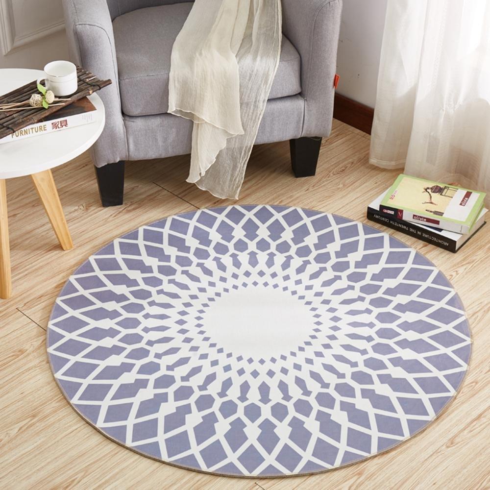 KK&MM Stilvoller schwarzer und weißer runder Wohnzimmer-Couchtisch-großer Teppich (Größe  160CM), A, 100CM B07D6MXFSV Teppiche & Lufer