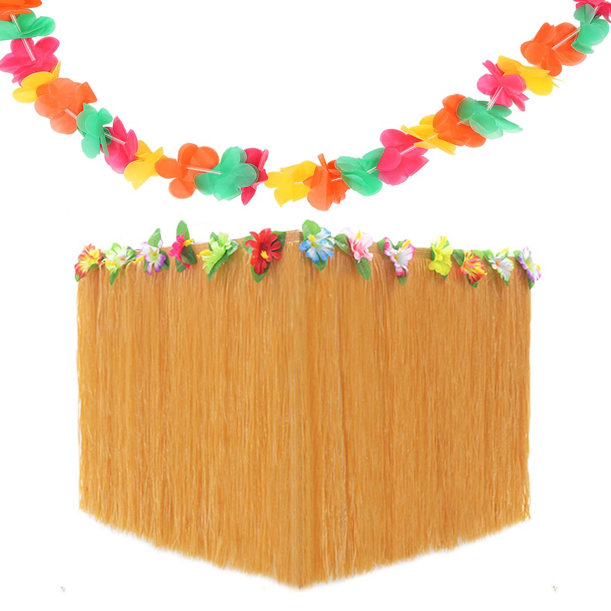 Hawaiian Party Supplies Set Includes 1 Pack 9ft Hawaiian Grass Table Skirt and 1 Pack 8.8ft Flowers Garland for Summer Luau Beach Party Decoration