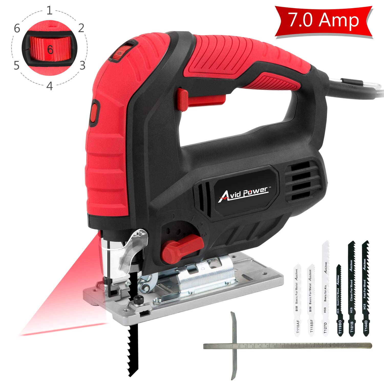 Jigsaw, Avid Power 7.0A 3000 SPM Jig Saw with Laser Guide, Variable Speed, Bevel Angle 0 -45 , 6PCS Blades and Scale Ruler