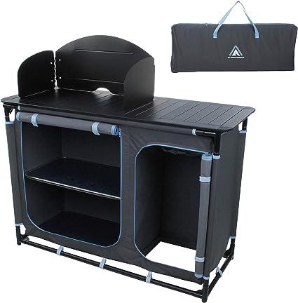 Campingküche Spritzschutz Outdoor Alu Windschutz mit Spüle Faltschrank