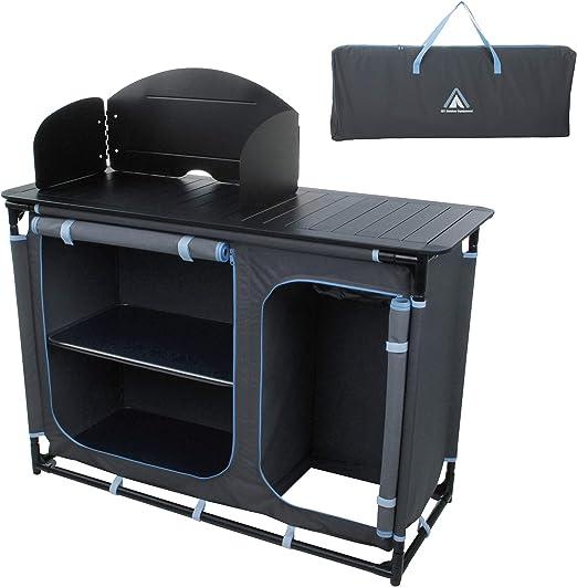 10T - Mueble de Cocina para Camping Camp Cook Plus con protección contra el Viento, estantes, Fregadero y Compartimento para bombona de Gas