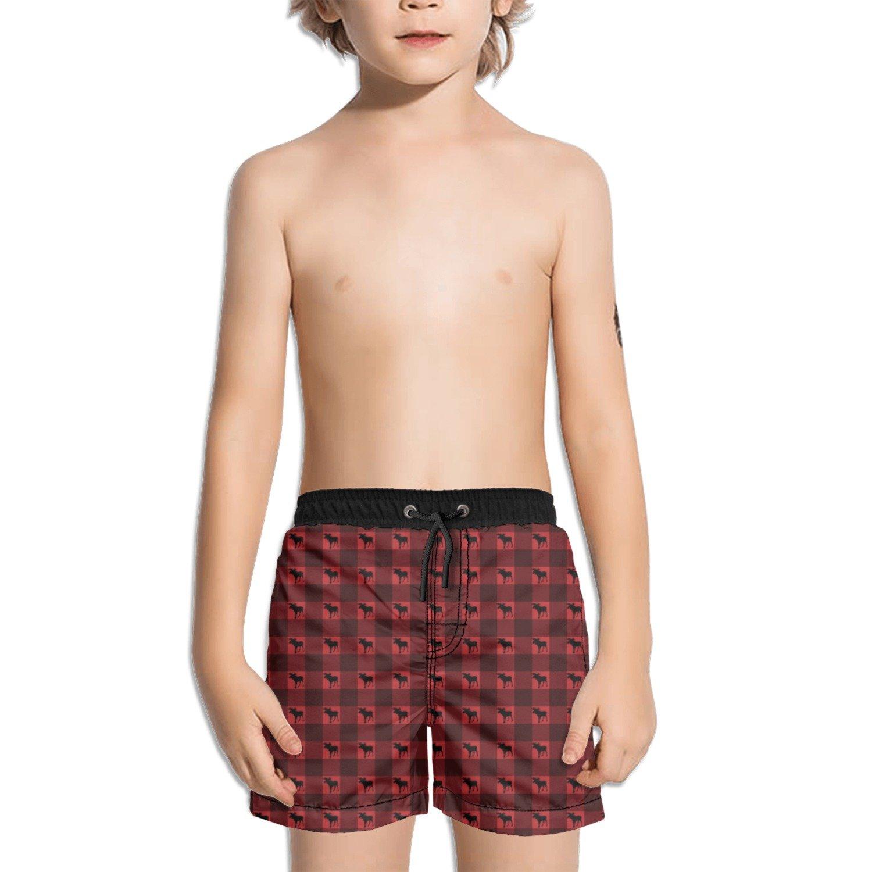 Trum Namii Boys Quick Dry Swim Trunks Buffalo Plaid Moose Shorts