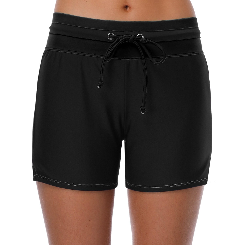 Vegatos Women's Sports Swimming Shorts Surf Swim Board Shorts Bathing Suit Bottom Black