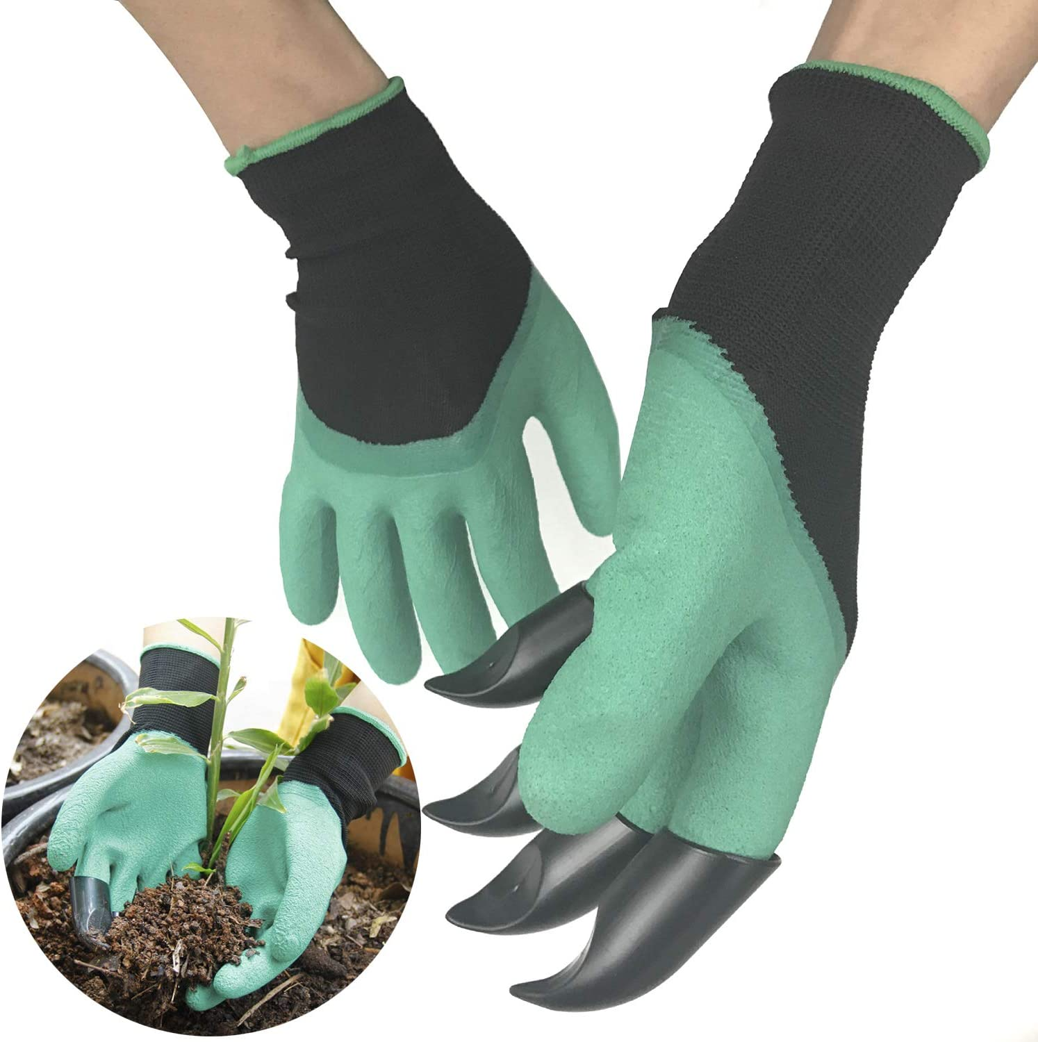 2Pair Garden Genie Gloves, 1Pair with Claws, another no Claws, Waterproof Protective Garden Gloves for Digging, Planting, Rose Pruning