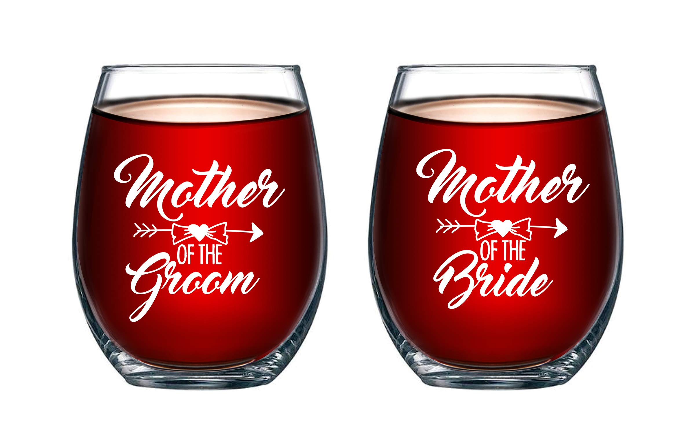 Mother of Bride and Groom 15 oz Stemless Wine Glasses (Set of 2) - Unique Wedding Favor Gifts For Parents - Engagement Gifts For Mother In Law and Brides Mom