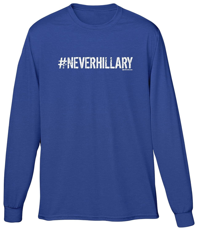 Blittzen Mens Long Sleeve T-shirt Hashtag Never Hillary