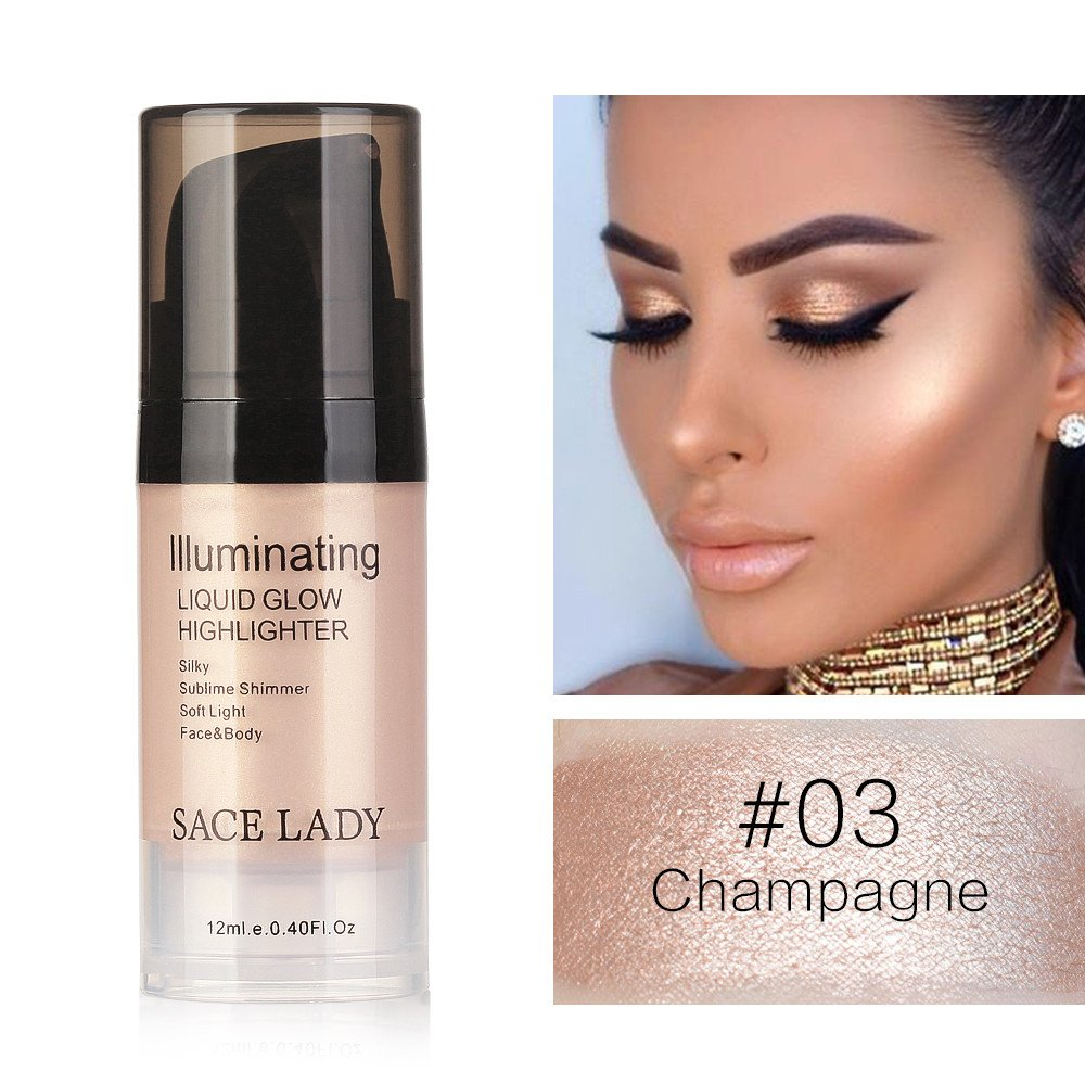 Hoshell 12ml Fashion Liquid Glow Highlighter Lip Foundation Makeup Shimmer Cream Facial Bronzer Contour Cosmetic (C)