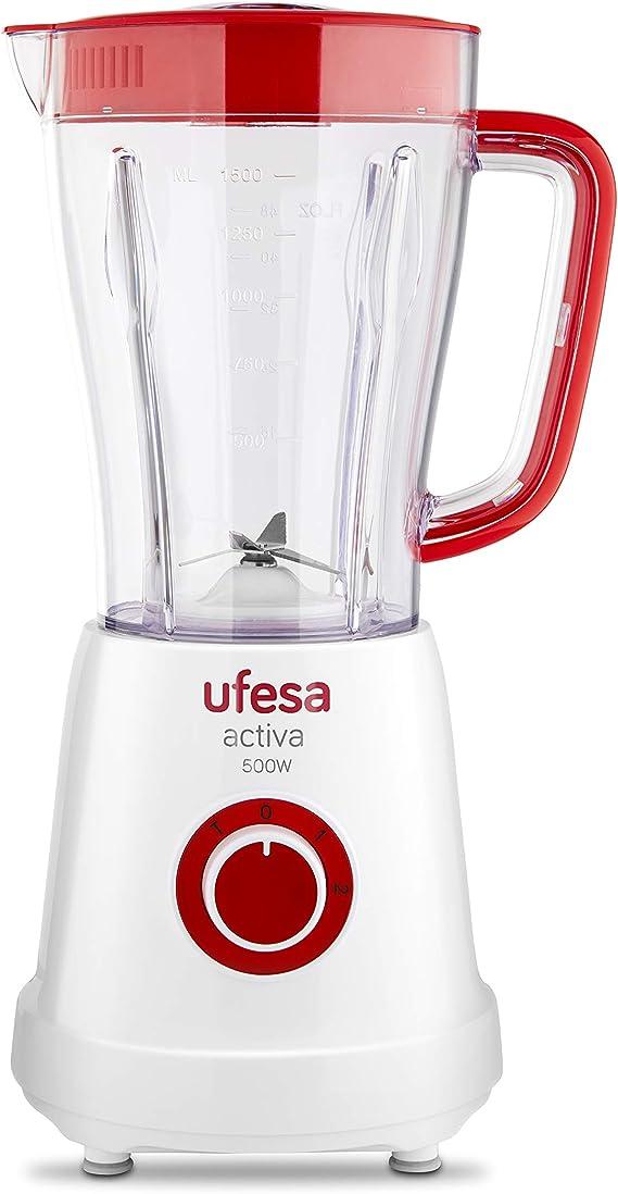 Ufesa BS4707 Activa Batidora de Vaso con Ventana en la Jarra y tapón dosificador, 500 W, 1.5 litros, Plástico, 3 Velocidades, Blanco/Rojo: Amazon.es: Hogar