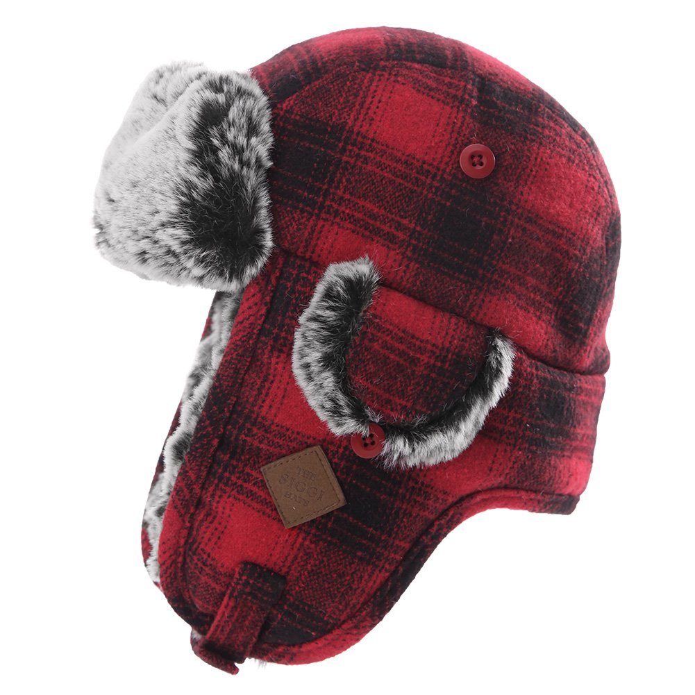 Mens Womens Plaid Faux Fur Hunting Bomber Trapper Flaps Winter Cap Ushanka Russian Hat Red