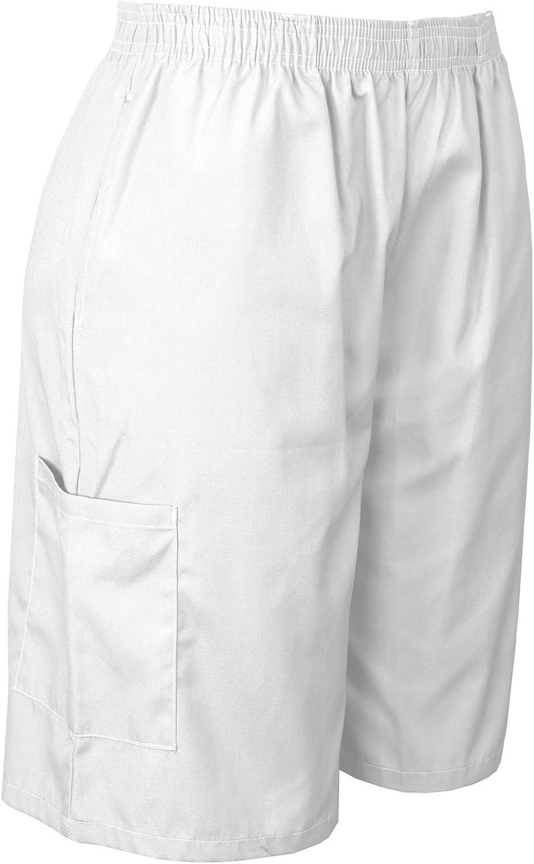 Medgear Scrubs Shorts with Elastic Waist and Cargo Pockets Soft Cotton Blend
