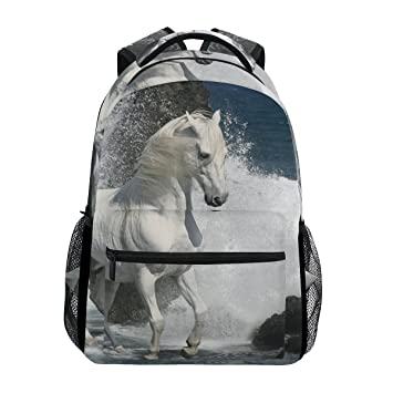 COOSUN Caballo blanco en el informal Daypack Escuela Mochila bolsa de viaje de las ondas Multicolor