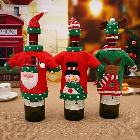 Amazon.com: OOCC - Juego de 3 bolsas de vino de Navidad ...
