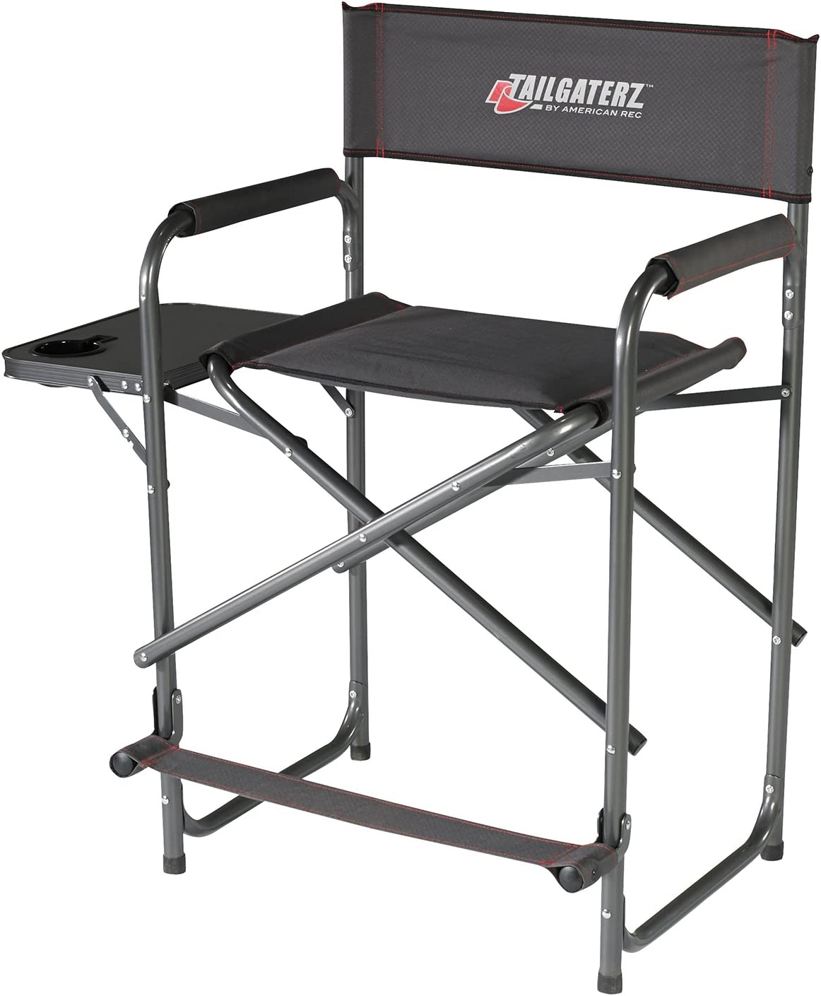 Tailgaterz Take-Out Seat Steel Chair with Side Table, Game Day Graphite