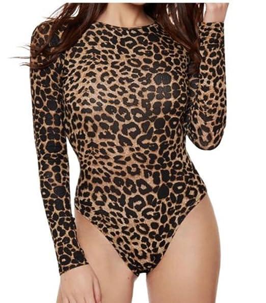 Women Ladies Animal Brown Leopard Print Leotard Bodysuit Leotard Top