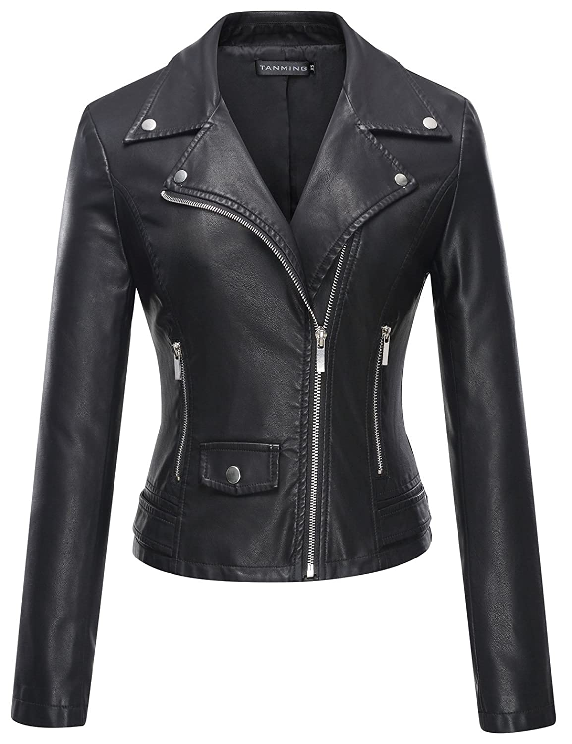 Tanming Women's Faux Leather Moto Biker Short Coat Jacket at ...