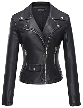 Tanming Women's Faux Leather Moto Biker Short Coat Jacket at