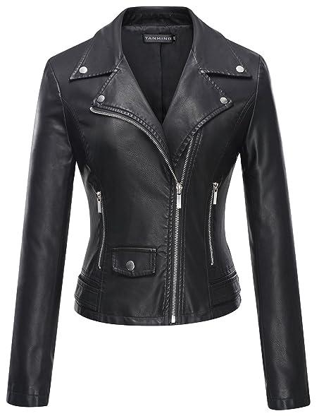Tanming Women's Faux Leather Moto Biker Short Coat Jacket at ...