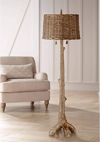Woodley Rustic Country Cottage Floor Lamp Faux Wood Tree Brown Wicker Drum Shade