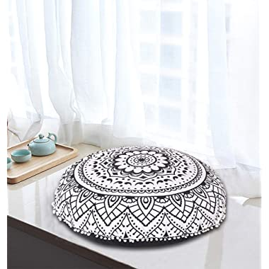 Shubhlaxmifashion 32  Black & White Floor Pillow Cushion Seating Throw Cover Mandala Hippie Decorative Bohemian Boho Ottoman Poufs, Pom Pom Pillow Cases,