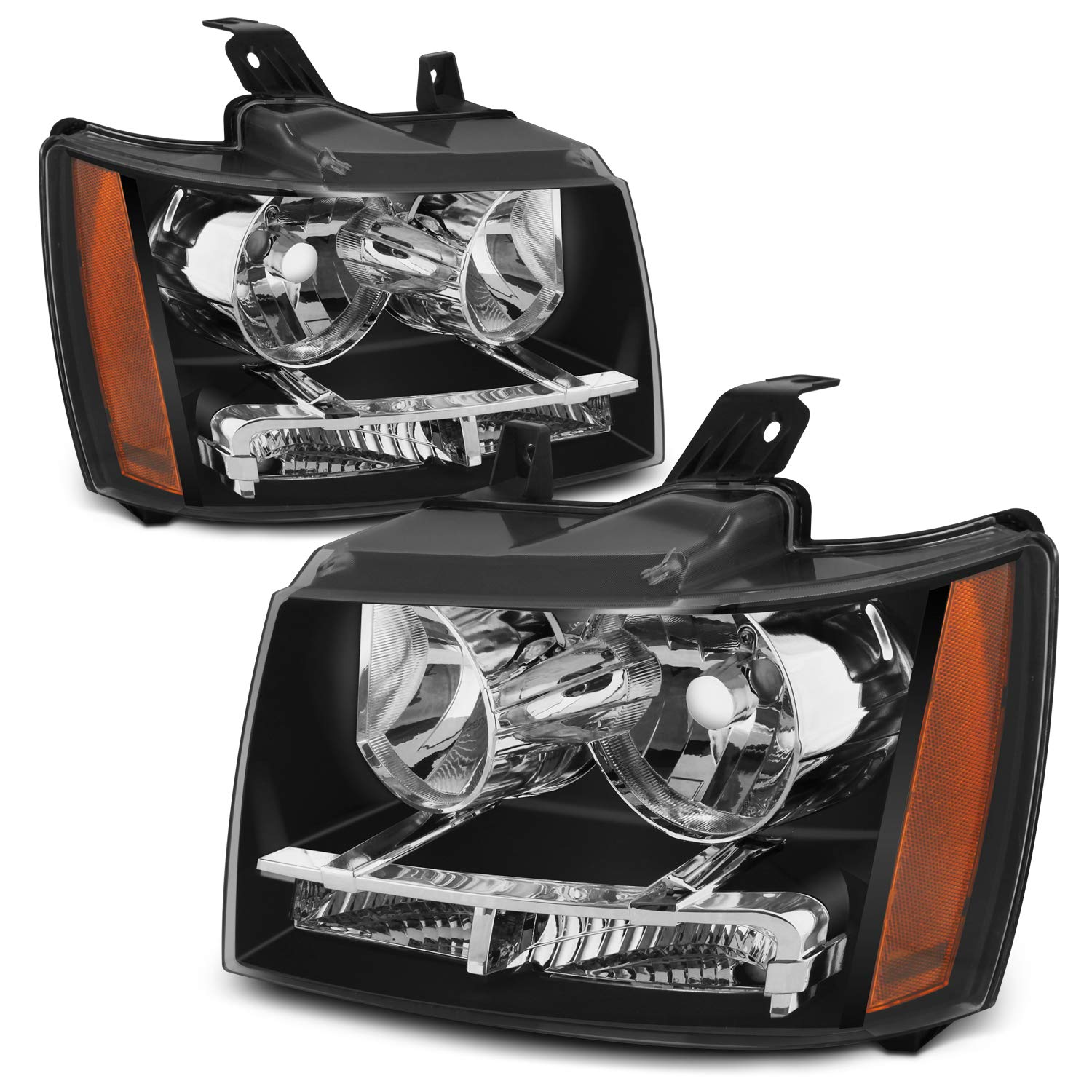 For Black Bezel 07-13 Suburban Tahoe Avalanche Headlights Front Lamps Direct Replacement Left + Right