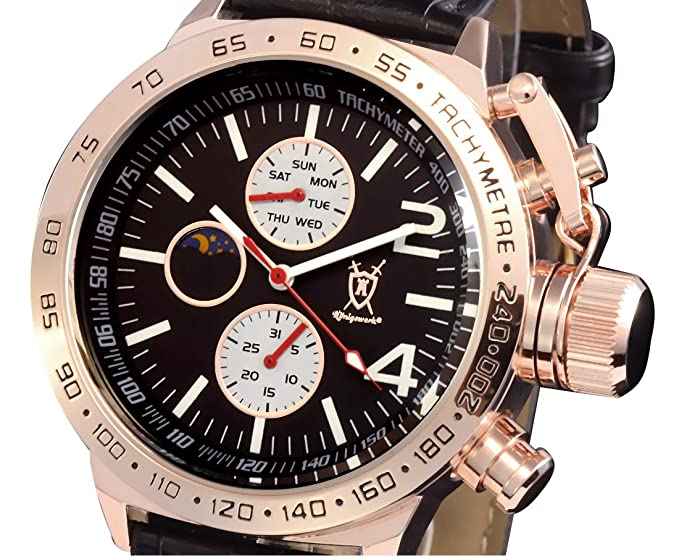 Amazon.com: Konigswerk Mens Watch Black Leather Band Rose Gold Tone Case Multifunction Day Date Sun Moon AQ201768G: Watches