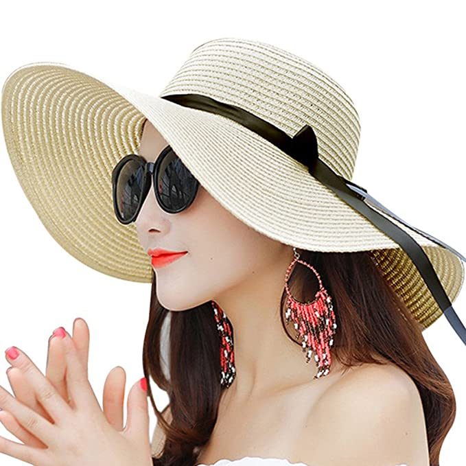 Promini Women Floppy Hat Bowknot Straw Hat Wide Brim Beach Hat Foldable Sun  Hat (One b7e25a2b55a0