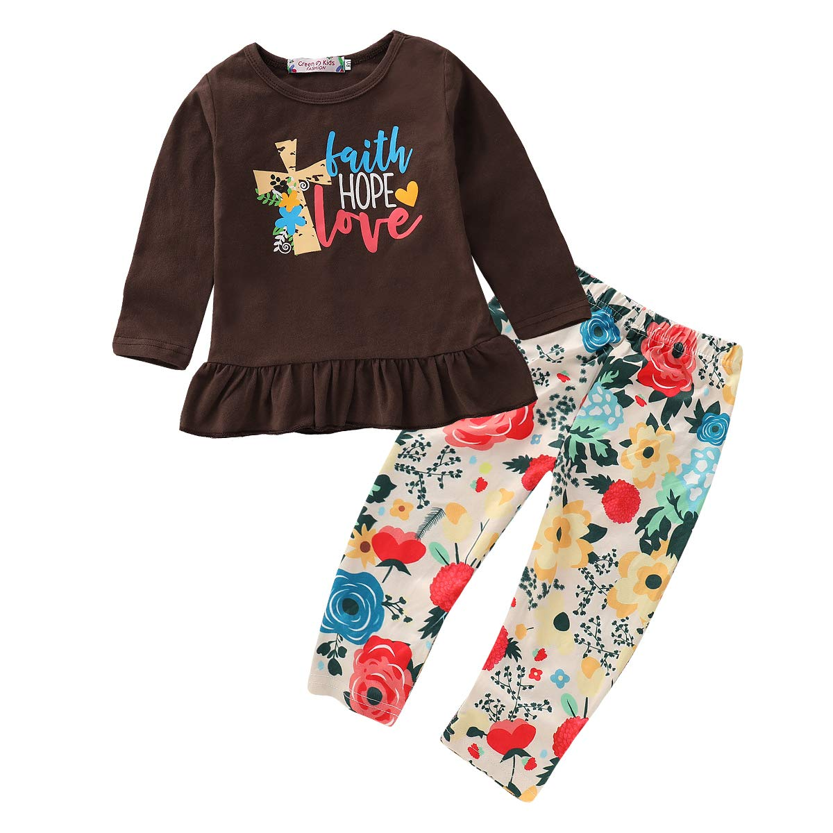 2Pcs Toddler Kid Baby Girls Outfit Long Sleeve Ruffle Print Tops + Floral Pants Clothes Set