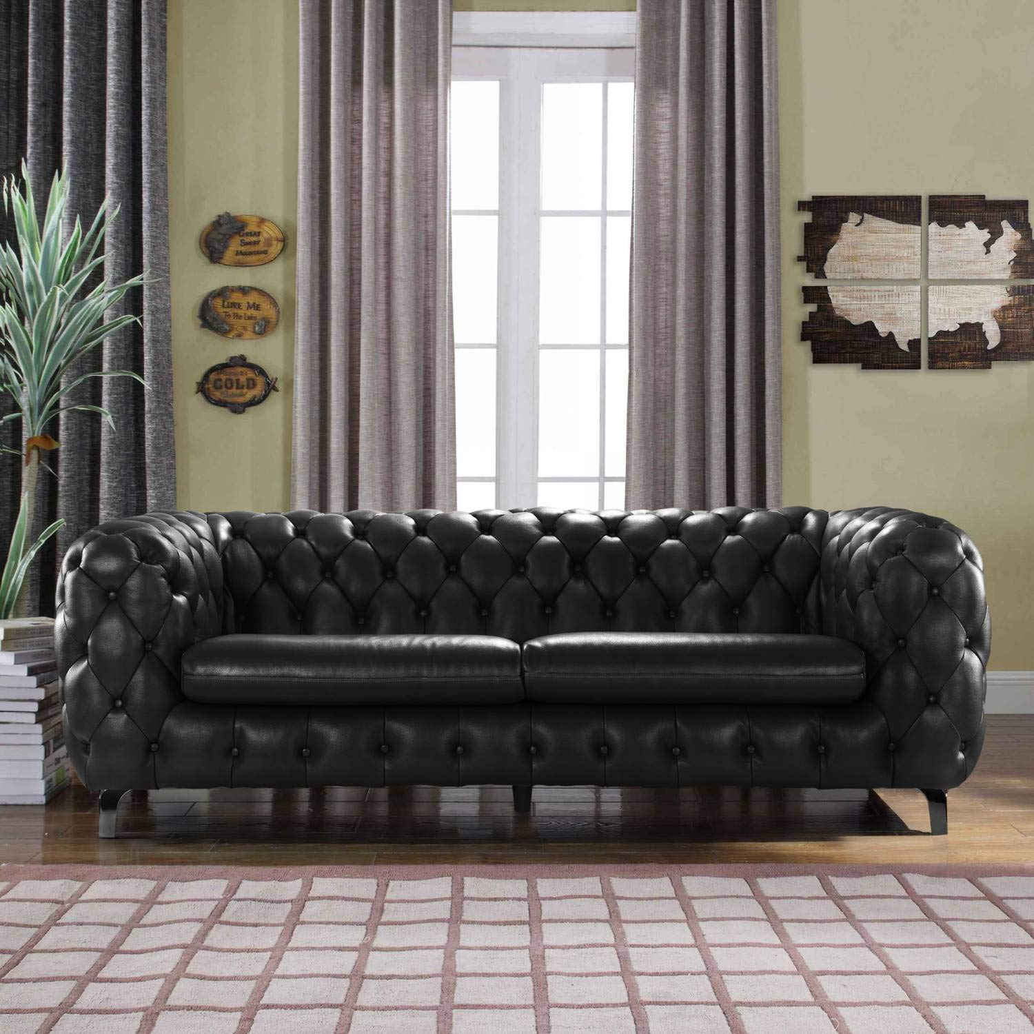 Amazon.com: Black Leather Chesterfield Sofa Couch w/Tufted ...