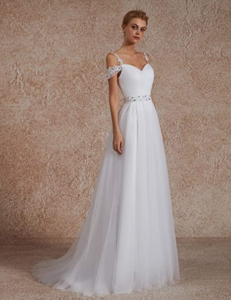 49d680d18dc OYISHA Women s A-line Off Shoulder Beaded Wedding Dresses for Bride 2019  102WD at Amazon Women s Clothing store