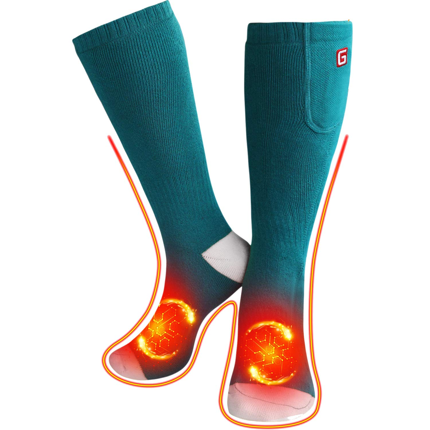 QILOVE Men Women Electric Heated Socks with 3.7V Rechargeable Batteries by QILOVE