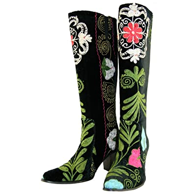 Scarlet: Black Hand Embroidered Knee-high Heeled Boots