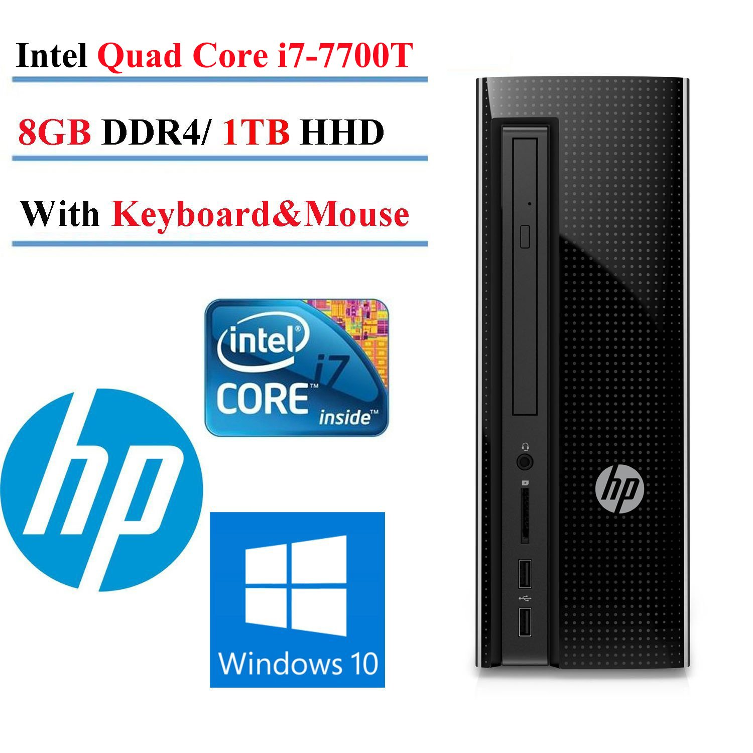 HP Slimline High Performance Mini Desktop (2017 Newest Model), Intel Core i7-7700T Processor 2.9 GHz, 8GB DDR4 2400 MHz, 1TB 7200rpm HDD, HDMI, DVD-RW, 802.11b/g/n, Bluetooth, Windows 10