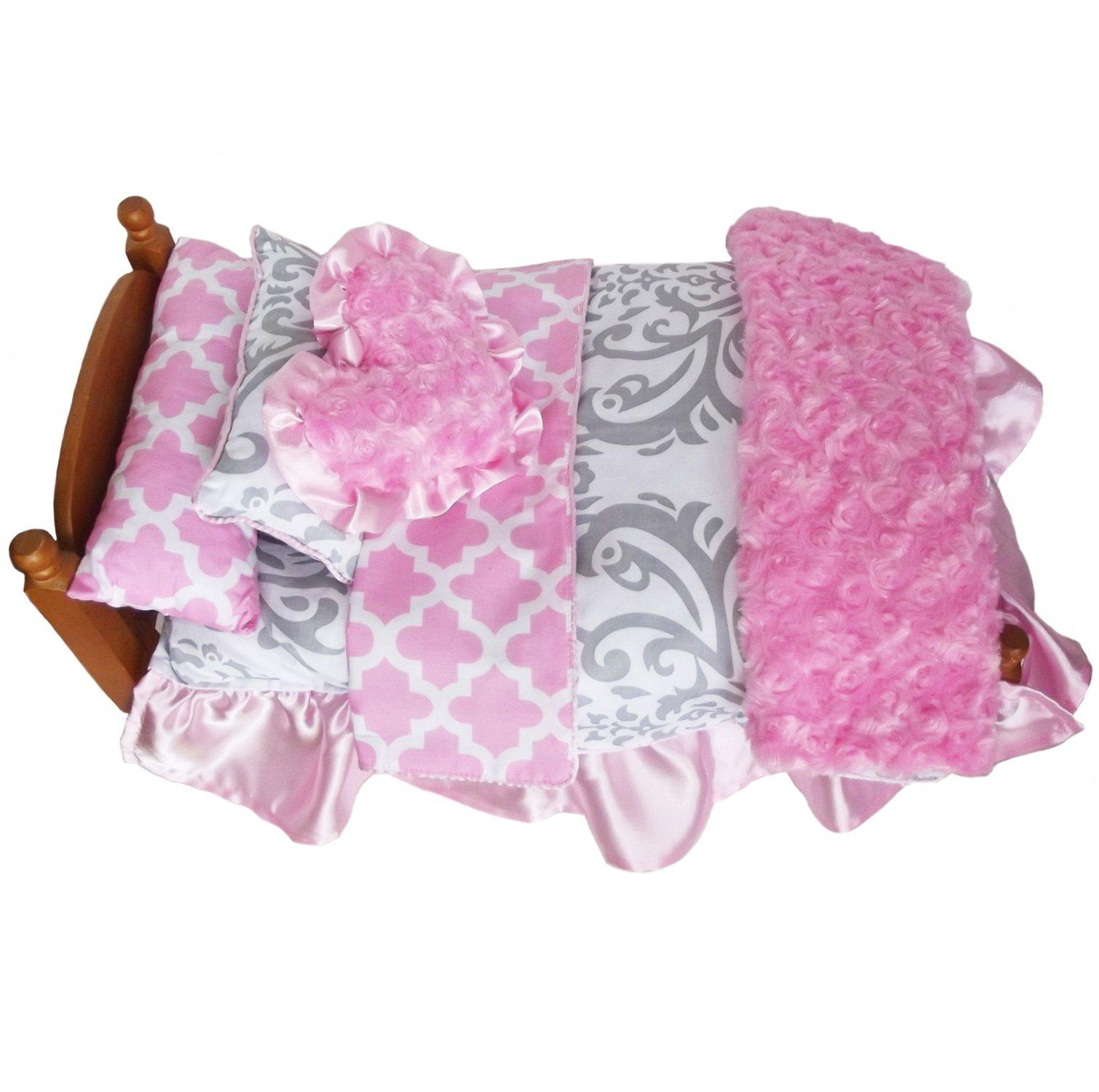 AnnLoren 7pc Pink Lattice & Grey Damask Bedding Set made for AG Dolls