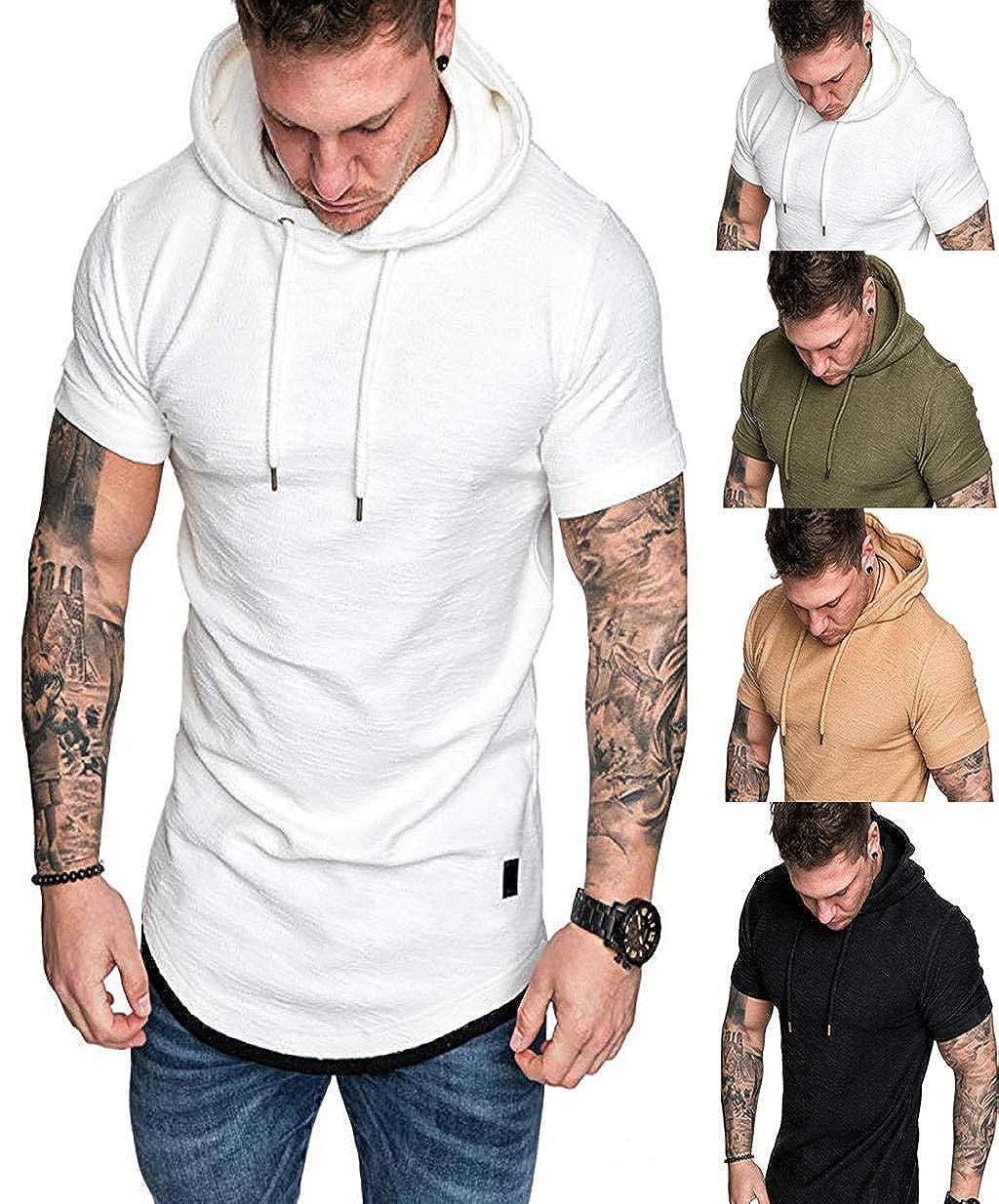 Sudaderas con Capucha de Manga Corta Camisas para Hombres Pure ...