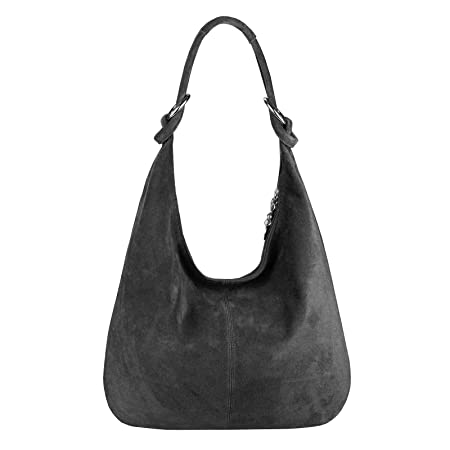 df2f5b3f5c2ff OBC Made in Italy Ladies XXL Leather Bag Leather Suede Shopper Bag Shoulder  Bag Hobo bag bag - Black